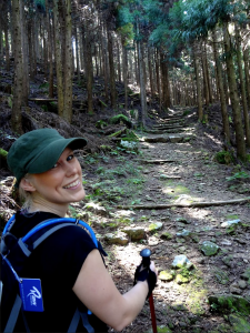 Raw Travel staff Heini walking the Kumano Kodo Trail